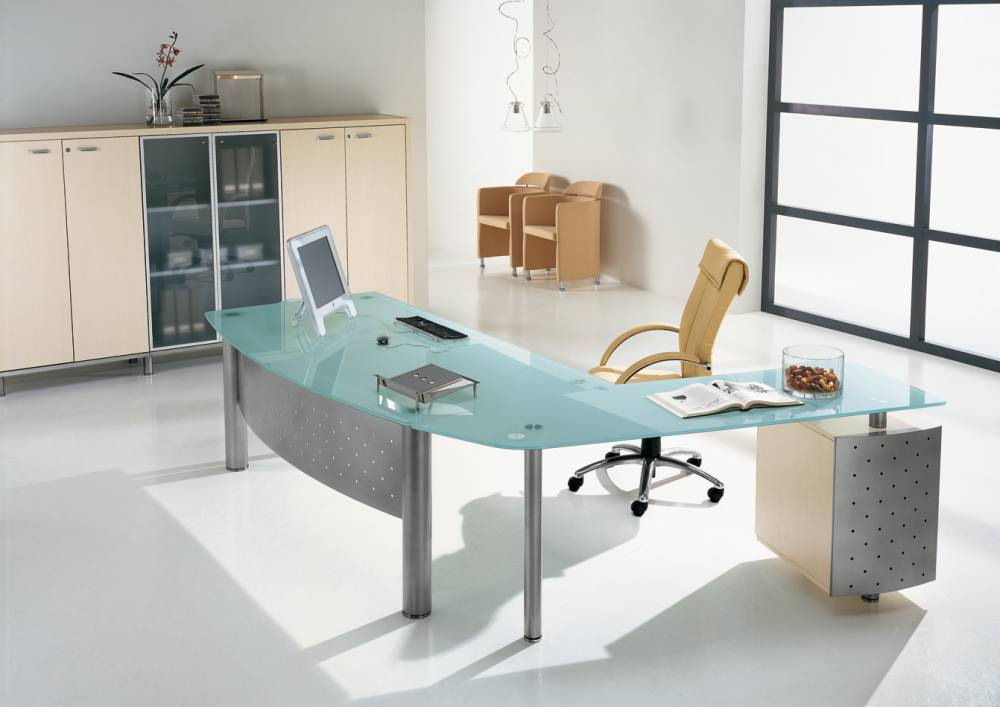Next direction verre mobilier de bureau discount burostock for Meuble de bureau en verre